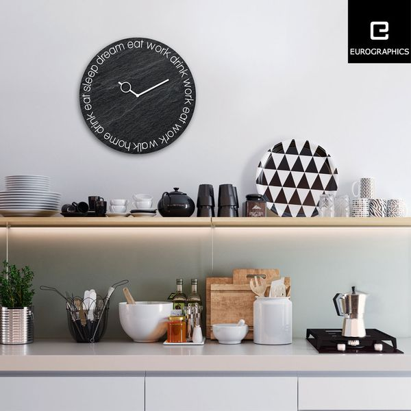 Reloj-Eat-Work-Drink-30-30Cm-Vidrio-Negro-------------------