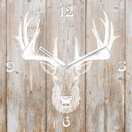 Reloj-Deer-Head-On-Wood-Ii-55-55Cm-Vidrio