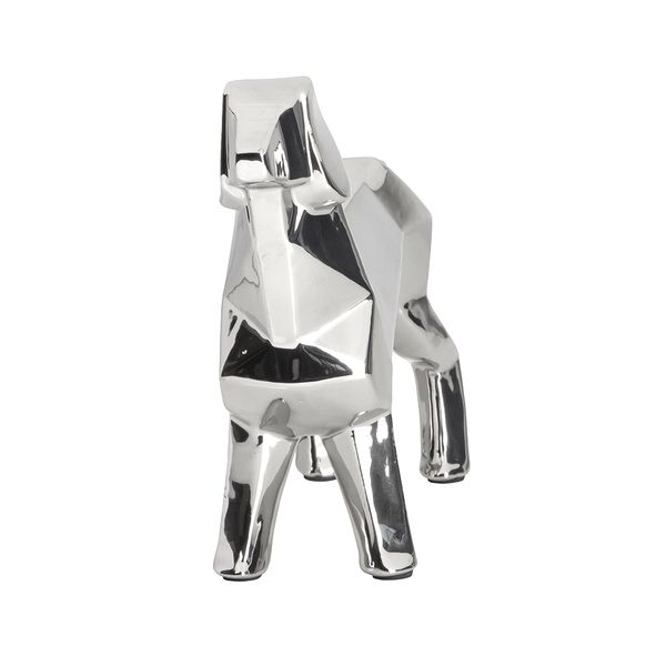 Figura-Origami-Perro-Ceramica-Plateado
