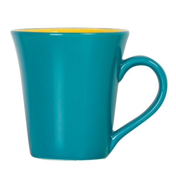 Mug-Bi-Tulipa-300Ml-Ceramica-Turquesa-Amarillo