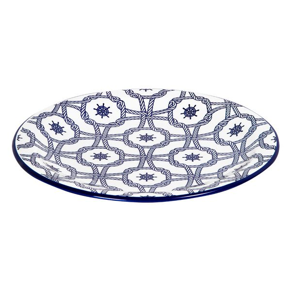 Plato-Llano-Nautico-26Cm-Ceramica-Azul