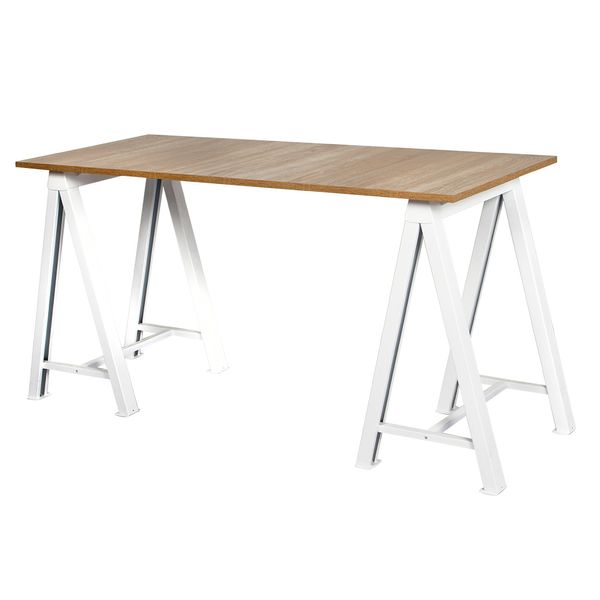 Escritorio-Caballete-140-60Cm-Metal-Blanco-Lam-Natural------