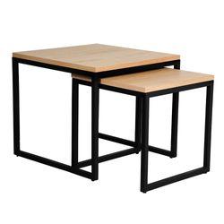 Mesa-Auxiliar-Danish-Set-2-50-50-45Cm-Mad-Roble-Metal-Negro-