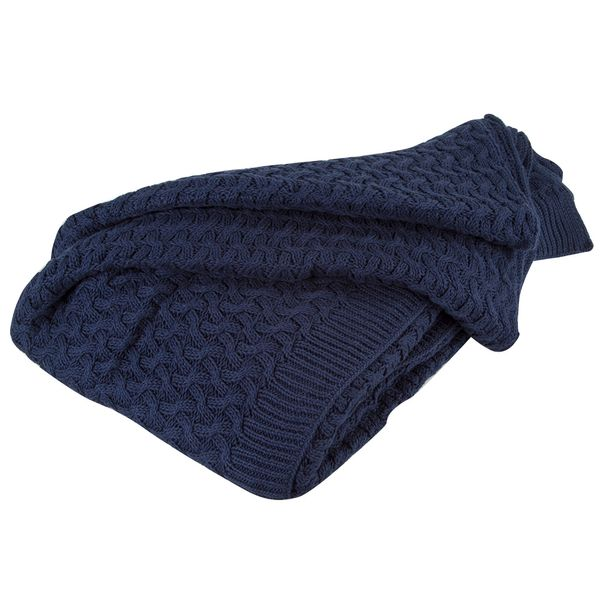 Manta-Tejido-Ondas-150-190Cm-Algodon-Azul-------------------