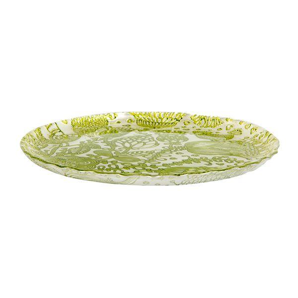 Plato-Flores-Hungria-22.5-22.5-1.5Cm-Vidrio-Verde-----------