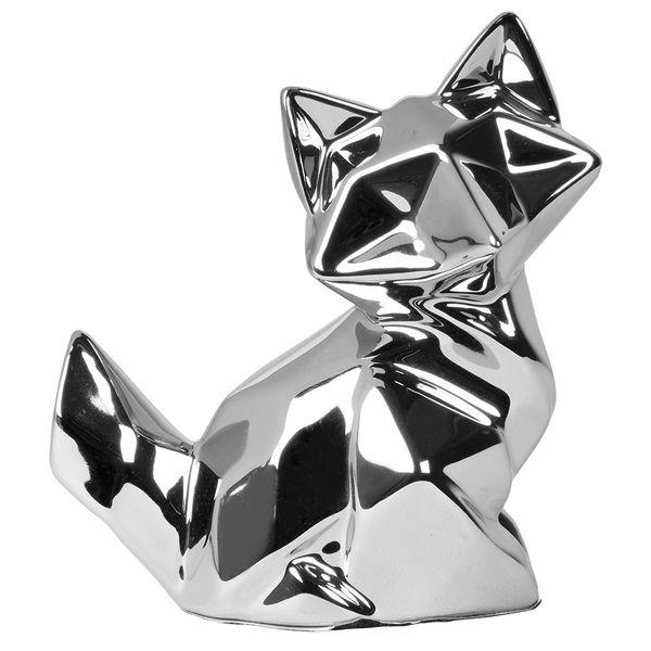 Figura-C18-Zorro-Niza-14-10-16Cm-Ceramica-Plata-------------