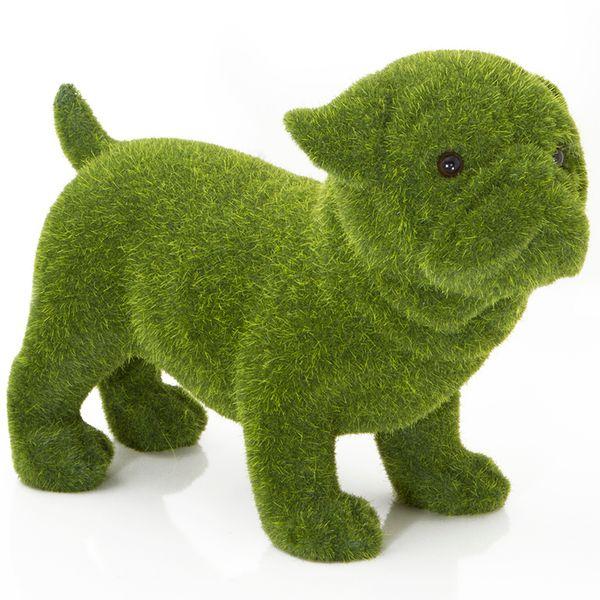 Perro-Bulldog-Pasto-Artificial-21-9-16Cm-Poliresina-Verde---