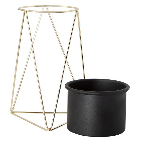 Matera-Piramidal-10-20Cm-Metal-Negro-Base-Dorada------------