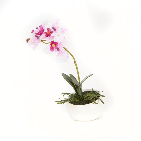 Planta-Artificial-Orquidea-25Cm-Morado-Crema-Ceramica-Blanco
