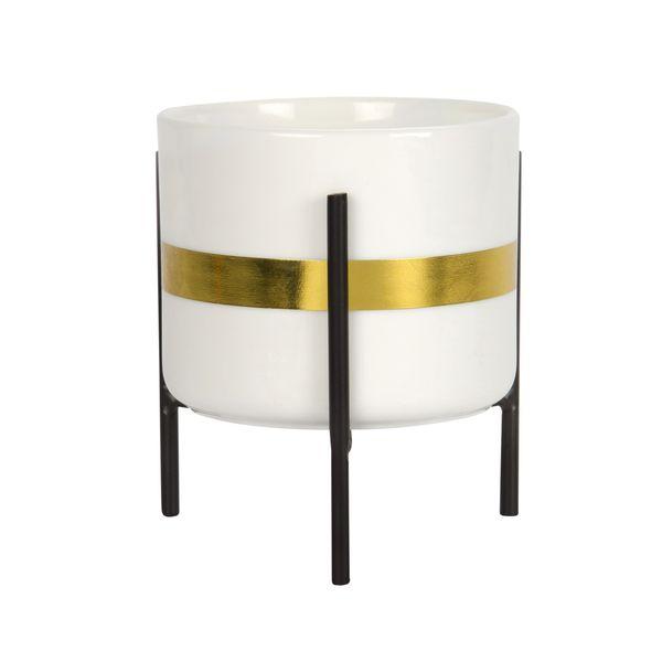 Matera-Stripe-10-11.5Cm-Ceramica-Blanco-Dorado--------------