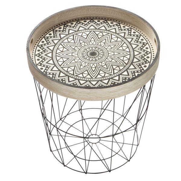 Canasta-C-Tapa-Geometrica-Mandala-40-40-42Cm-Metal--Negra---