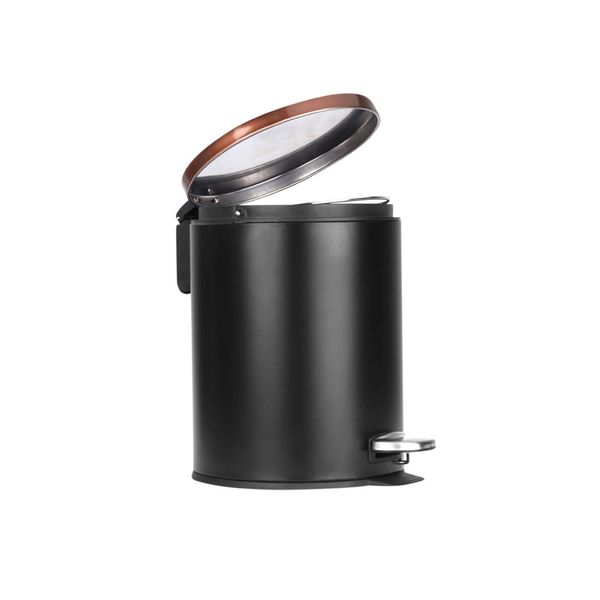 Papelera-Pedal-5Lt-20.5-26.5Cm-Metal-Plastico-Negro-Cobre---