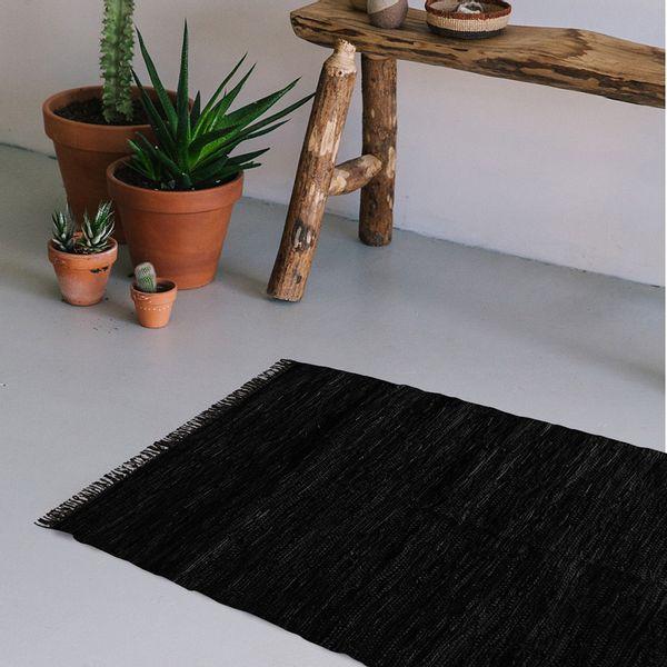 Alfombra-Dhurrie-de-cuero-160x230-cm-Negro
