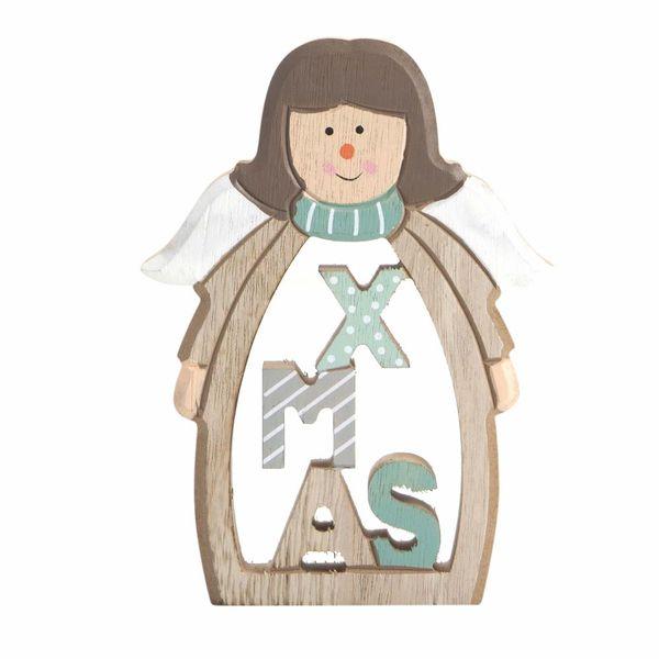 Navidad-C19-Angel-Navideño-12-16.5Cm-Madera-Nat-Verde