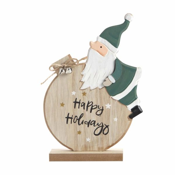 Navidad-C19-Santa-Happy-Holidays-14-22Cm-Madera-Nat-Verde