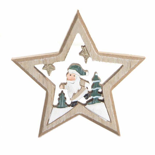 Navidad-C19-Estrella-Santa-13.5-13.5Cm-Madera-Nat-Verde