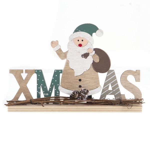 Navidad-C19-Letrero-Santa-Xmas-16-23Cm-Madera-Nat-Verde