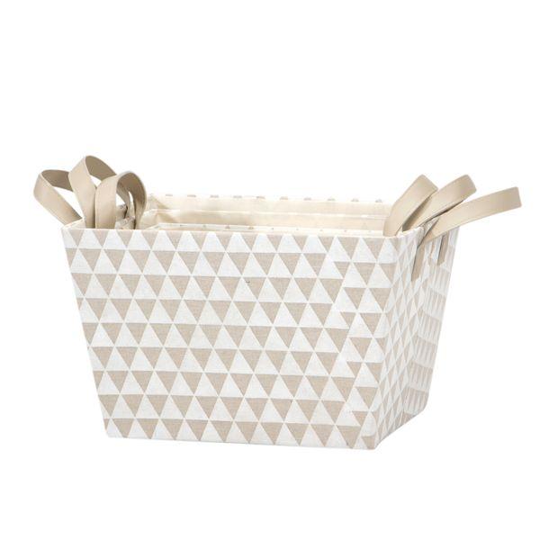Set-3-Cajas-Triangle-35-28-22Cm-Poliester-Beige-------------