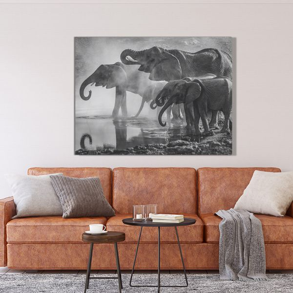 Cuadro-Elephants-75-100Cm-Canvas-Silver---------------------
