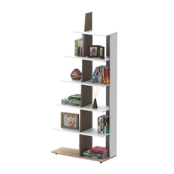 Biblioteca-Bora-80Cm-80-35-183.5-Mdf-Natural-Rovere-Nevado--