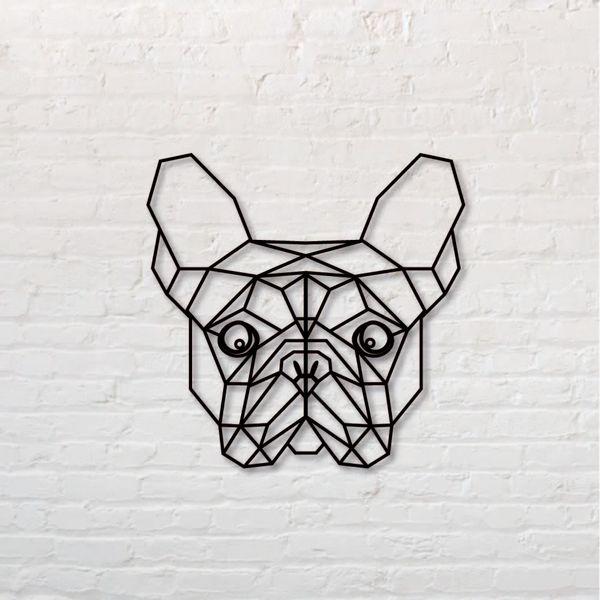 Cuadro-Bull-Dog-Frances-Cara-50-50Cm-Mdf-Negro--------------