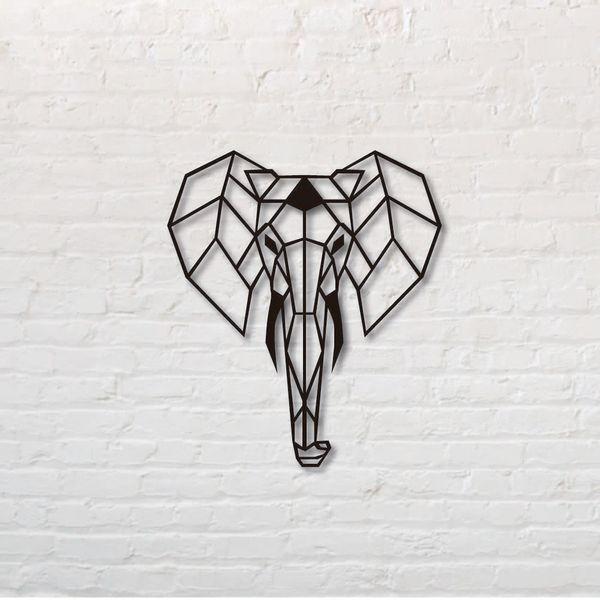 Cuadro-Elefante-50-50Cm-Mdf-Negro---------------------------