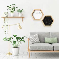 Repisa-Hexagonal-Corazon-31-35-8-Cm-Negro