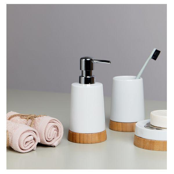 Dispensador-Jabon-Natural-9-8-17Cm-Ceramica-Blanco-Bamboo---