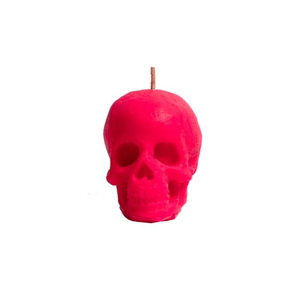 Vela-Decorativa-Mini-Skull-Fucsia-Sin-Aroma