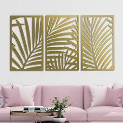Set-3-Cuadros-Palm-Tree-60-36Cm-Dorado
