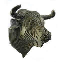 Figura-Decorativa-Bull-Head-35-27-29Cm-Carton-Verde-Oliva