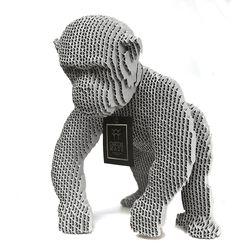 Figura-Decorativa-Chimpanzee-30-22-29Cm-Carton-Plateado
