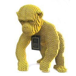 Figura-Decorativa-Chimpanzee-30-22-29Cm-Carton-Amarillo
