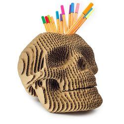 Portalapices-Skull-19-19-23Cm-Carton-Dorado