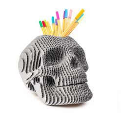 Portalapices-Skull-19-19-23Cm-Carton-Plateado