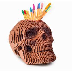 Portalapices-Skull-19-19-23Cm-Carton-Cobre
