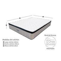 Colchon-One-Pillow-King-200-200-28Cm-Gris-Blanco