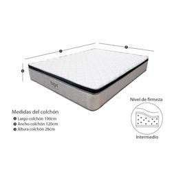 Combo-Colchon-One-Pillow-Semi-Doble-190-120-28Cm-Base-Cama-Gris-Blanco