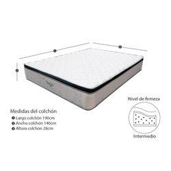 Combo-Colchon-One-Pillow-Doble-190-140-28Cm-Base-Cama-Gris-Blanco