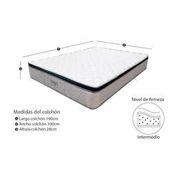 Combo-Colchon-One-Pillow-Sencillo-190-100-28Cm-Base-Cama-Gris-Blanco
