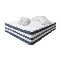 Combo-Colchon-Doble-Pillow-Sencillo-190-100-36Cm-Prot-Almoha-Gris-Blanco
