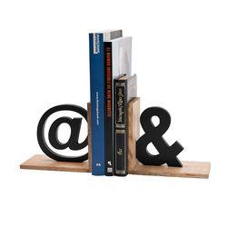 Apoya-Libros-Simbolos-32-10-15Cm-Natural-Negro