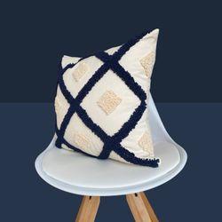 Funda Cojín 45*45Cm Diagonales Azul Marino, Gris Y Crudo