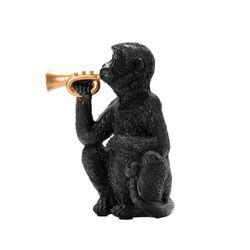 Figura-Mico-Trompeta-Negro-Dorado